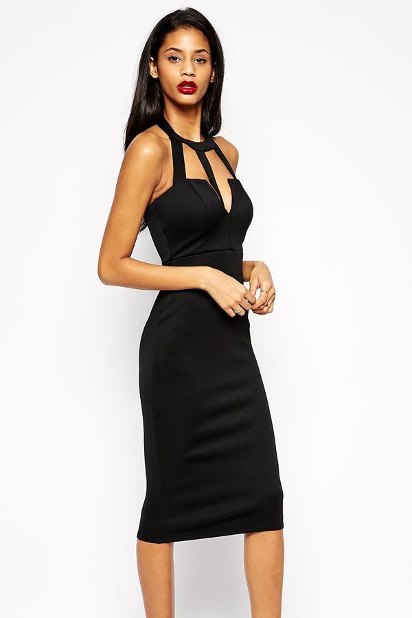 Caged Front Open Back Black Midi Dress