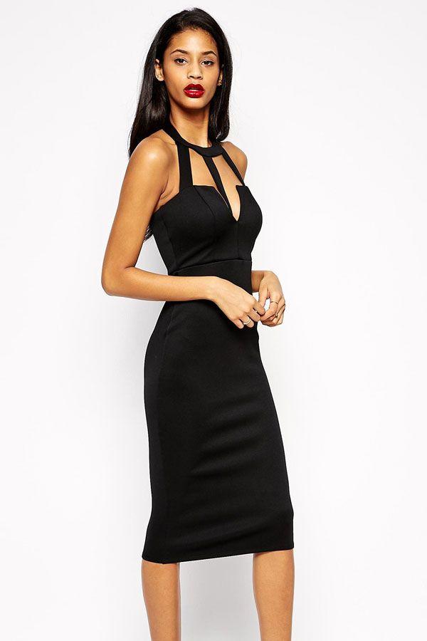 Caged Front Open Back Black Midi Dress