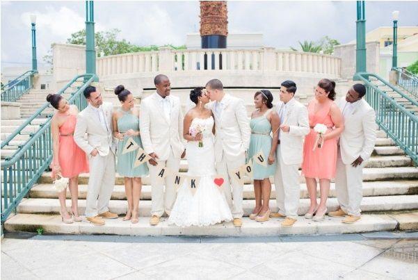 Lovely pastel palette for a seaside wedding. Photo by Vanessa Velez Photography via Style Me Pretty.