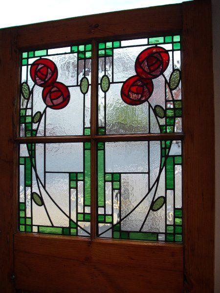 Rennie Mackintosh style stained glass window panels