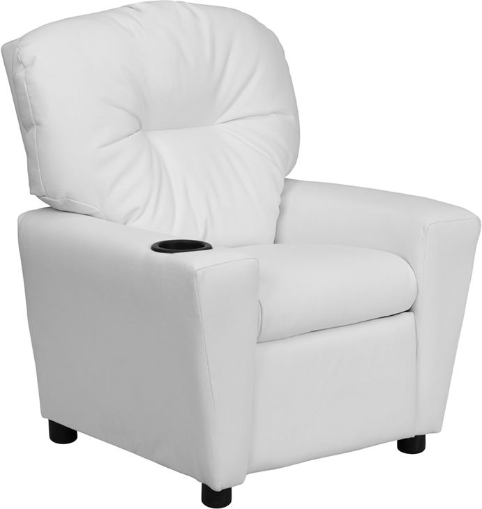 Childu0027s Recliner Overstuffed Padding For Comfort White Vinyl Upholstery  Easy To Clean With Damp Cloth Cup Holder In Armrest Solid Hardwood Frame