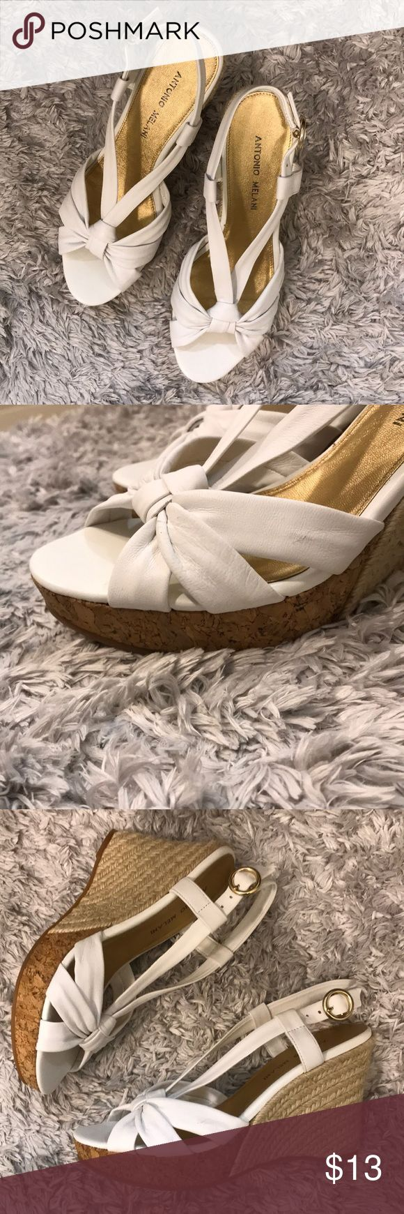 Antonio Melanie White Wedge Heels Antonio Melani white wedge slingback style heels. Perfect for summer!  Size 8M Worn Once, gently used, super comfy!   4inch heel with 1 inch lift in the toe area ANTONIO MELANI Shoes Wedges