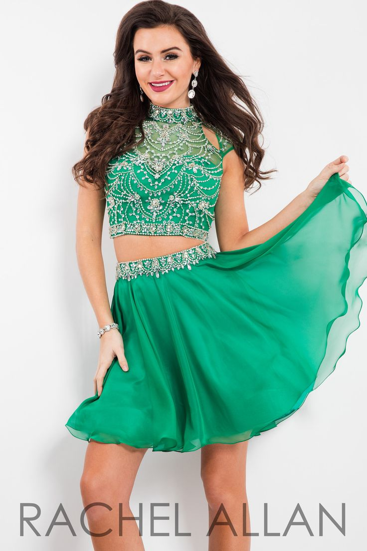 This two piece has got the collared heavily beaded top and a chiffon skirt detailed with a beaded waist line belt, and it's at Rsvp Prom and Pageant Dresses!