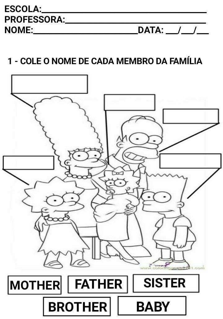Atividade De Ingles Para Criancas Family Com Imagens