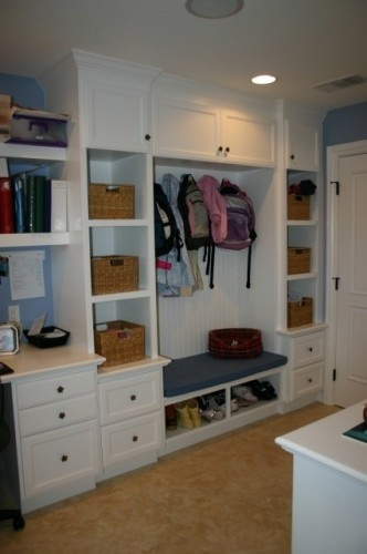 Mudroom organization -- all the drawers for all that stuff that hasn't a home anywhere else!