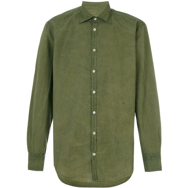 Massimo Alba Pence shirt ($295) ❤ liked on Polyvore featuring men's fashion, men's clothing, men's shirts, men's casual shirts, green, mens cotton shirts, mens green shirt and mens shirts