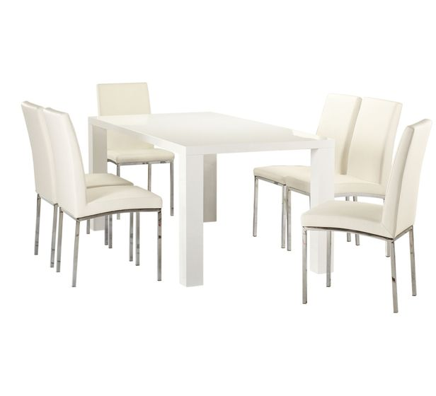 Dining Set White 599 7 Piece Fantastic Furniture Elle Chairs Vogue With