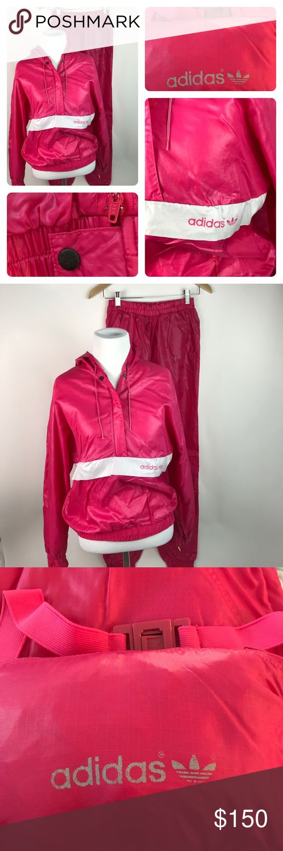 VINTAGE ADIDAS Women's Track Suit M AR57 EUC...minor fading of adidas logo on thigh of track pant only- all other logos intact. NO stains holes rips or pilling.  spectacular VINTAGE ADIDAS TRACKSUIT for women! This listing includes the popover hooded windbreaker which folds into and out of a Belted fanny pack that fastens around waist for travel, etc. when Jacket is in use, the fanny pack and strap nestled into the jacket's front pocket. The pants feature a traditional elastic waistband with…