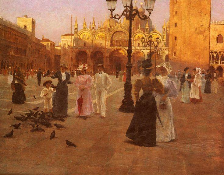 Romolo Tessari (1868-)Piazza San Marco, Venice