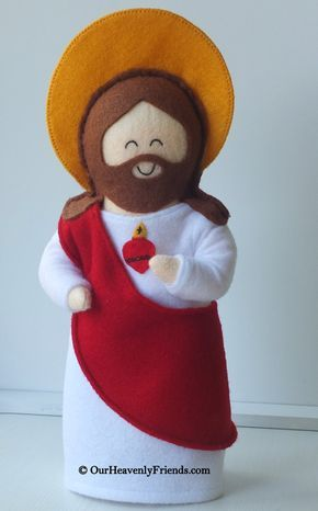 Lovingly handmade by Our Heavenly Friends from felt fabric and stuffed with 100% premium poly-fill. Jesus is dressed in a white robe with a red sash. The doll features a prayer on the back that tells you more about the Saint and encourages your little ones relationship with their Heavenly Friend. The label on the back of the doll reads as below: Sacred Heart of Jesus Feast Day: 19 days after Pentecost Sunday Prayer to the Sacred Heart of Jesus O, Most Holy Heart of Jesus, Fountain of…