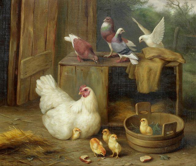 "Edgar Hunt ""Farmyard scene with chickens' 1912 | Flickr - Photo Sharing!"