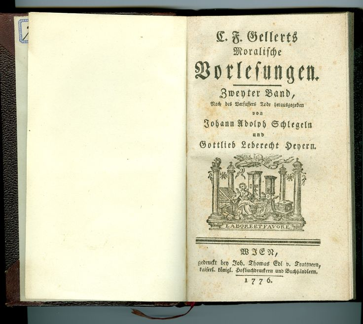 "Found in the bin in front of my flat, a book as old as my country. Wikipedia says, ""Christian Fürchtegott Gellert (4 July 1715 – 13 December 1769) was a German poet, one of the forerunners of the golden age of German literature that was ushered in by Lessing."""