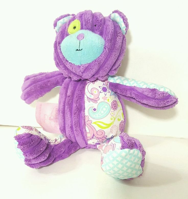 Mud Pie Teddy Bear Purple Rattle Plush Textured Ribbed Infant Baby Toy Lovey  #MudPie