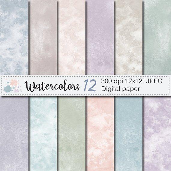 Watercolor Digital Paper Neutral Watercolor Textures Pastel Etsy Paper Texture Digital Paper Abstract Paper