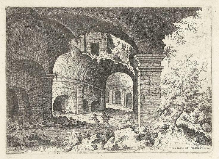 Hieronymus Cock   Achtste gezicht op het Colosseum te Rome, Hieronymus Cock, 1551   Achtste gezicht op de ruïnes  van het Colosseum te Rome. Een man en een vrouw rennen door de ruïnes. De man pakt de vrouw vast aan haar paardenstaart. Prent uit een serie van 25 prenten met Romeinse ruïnes.
