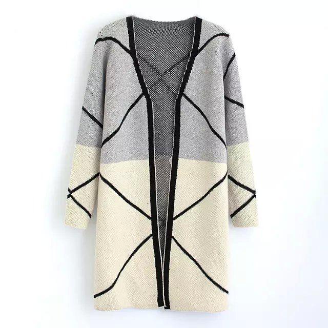nieuwe herfst winter 2015 dame lang vest met lange mouwen jacquard trui gebreid vest vrouwen vesten(China (Mainland))