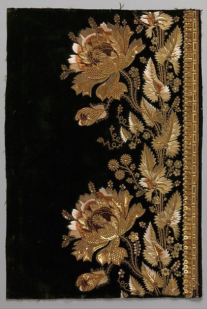 France, embroidered sample for a man suit, silk and metallic threads, 1800-1815