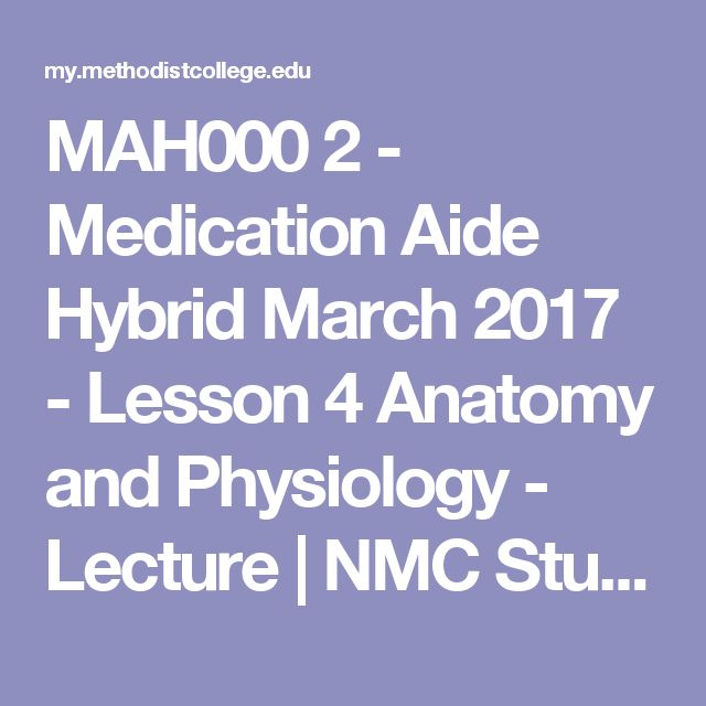 MAH000 2 - Medication Aide Hybrid March 2017 - Lesson 4 Anatomy and Physiology - Lecture | NMC Student Portal
