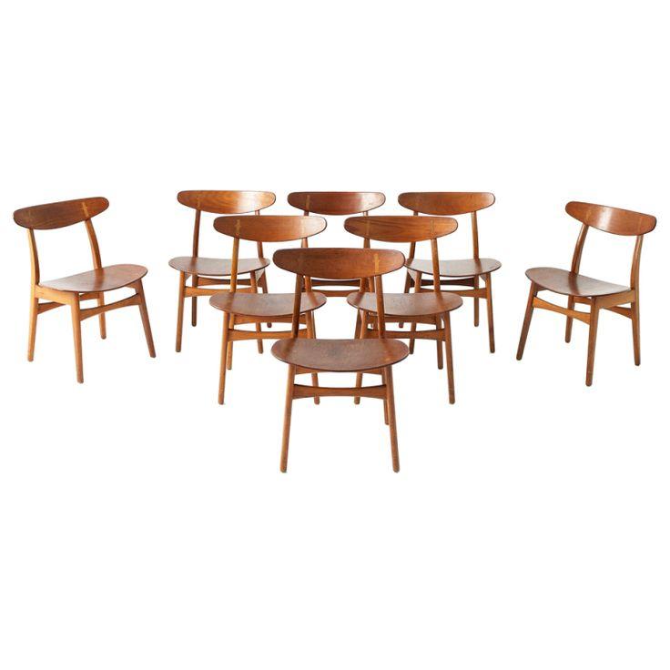 1stdibs | set of 8 Hans J. Wegner CH-30 chairs in teak plywood by Carl Hansen