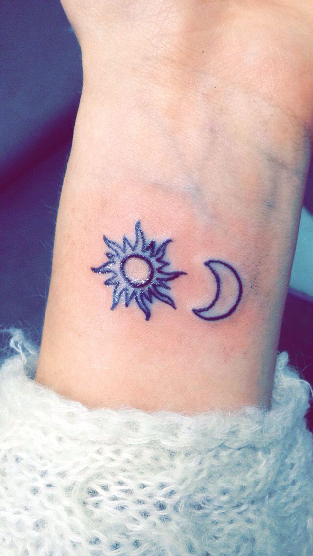 Simple sun and moon tattoo