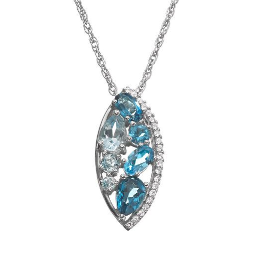 Fine Jewelry 18K Gold Over Silver Genuine Blue Topaz and Lab-Created White Sapphire Pendant Necklace RUMEN581g