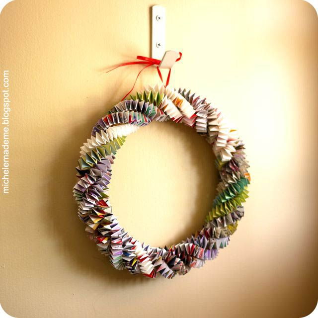 The Box Chain Paper Wreath tutorial.  This one is made from old magazines but I would love to do one with Christmas wrapping paper!