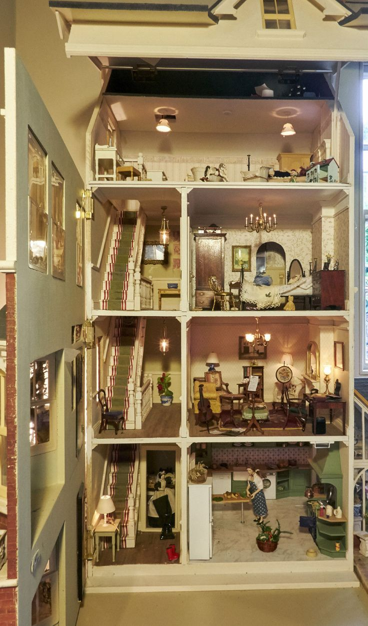 Designer dioramas miniature rooms - Original Sid Cooke Dolls House Complete With Furniture Figures Lighting Etc Miniature Roomsrooms