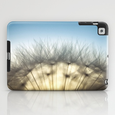 Dandelion & Sun I. (color) iPad Case by Martin Misik - $60.00 // #ipad #tablet #case #print #art #society6 #dandelion #sunset #prague #macro #flower #blue #yellow #fluff #seed #flying #calm #quiet #still #relaxation #meditation #evening #globe