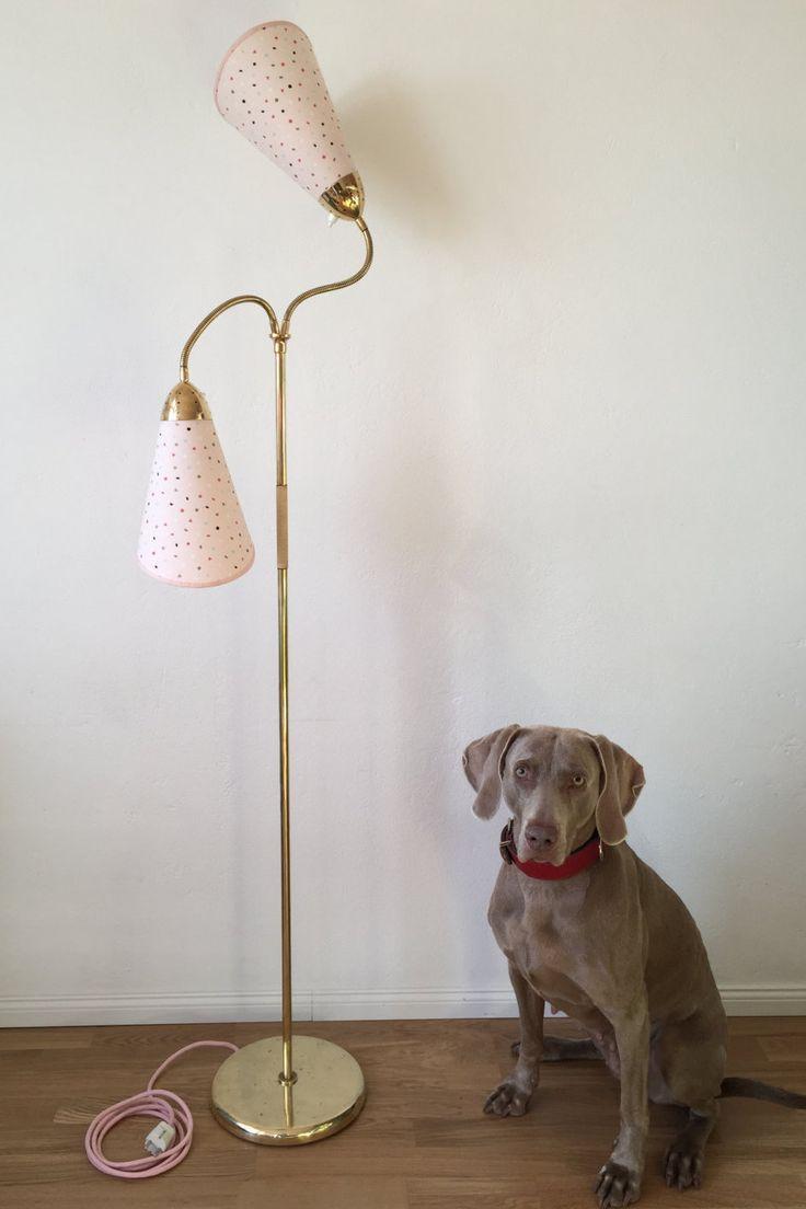 50er jahre tütenlampe stehlampe rockabilly 50s messinglampe nierentisch stil retro leselampe