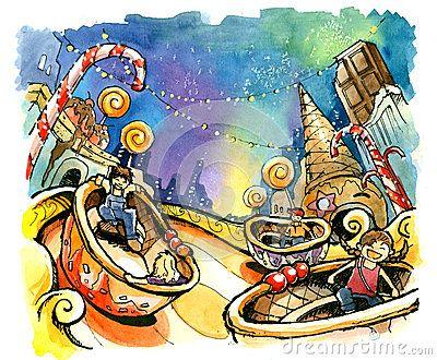 amusement park illustration   Stock Photo: Theme park, amusement park illustration fun summer