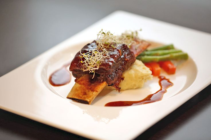 ASIAN GRILLED SHORT RIBS  -  grilled short ribs served with sauteed vegetables, mashed potatoes, and complemented with Asian barbecue sauce  Rp 125,000net/portion