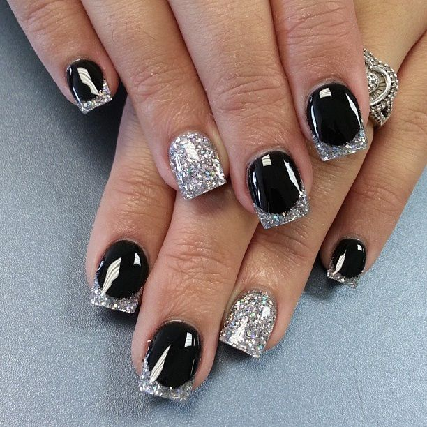 silver Gel Manicure Ideas | Black And Silver Nail Design