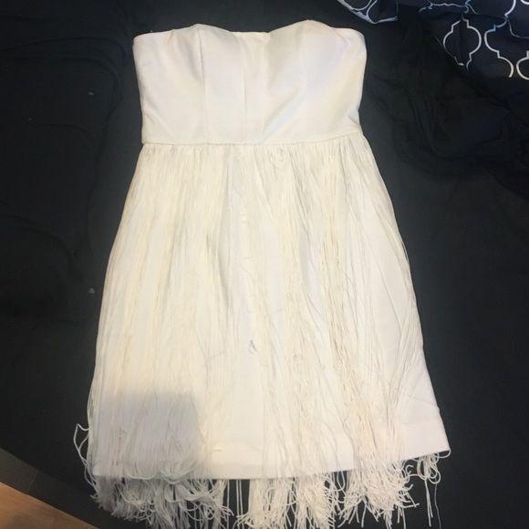 ANGL WHITE FRINGE DRESS Worn once ANGL Dresses Strapless