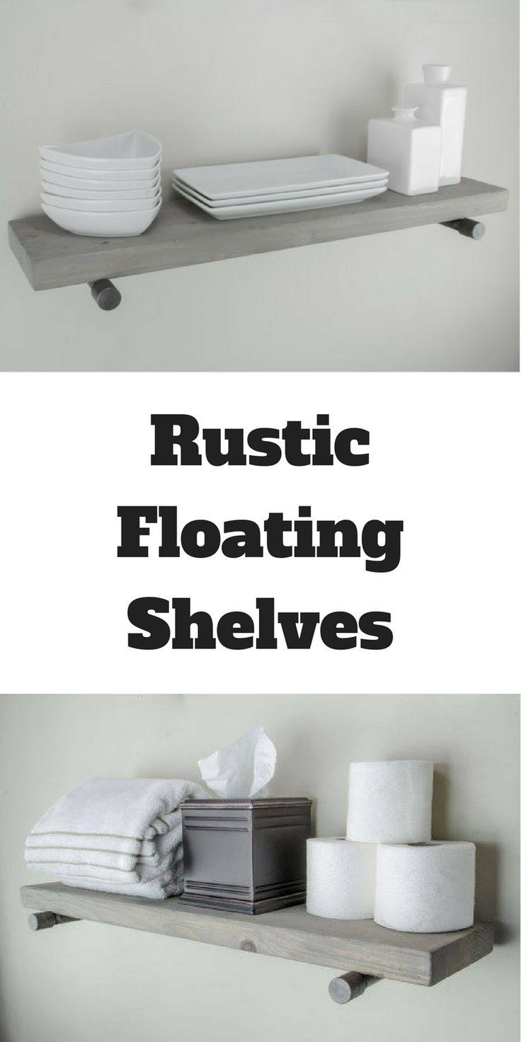 rustic floating shelves great farmhouse decor for use in the bathroom kitchen or living - Wie Man Ein Kopfteil Mit Regalen Baut