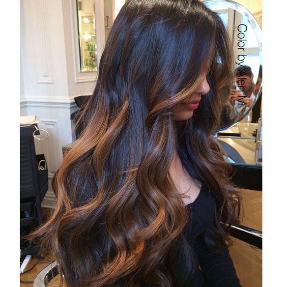 Best 25 balayage on black hair ideas on pinterest ombre on caramel balayage on black hair urmus Gallery