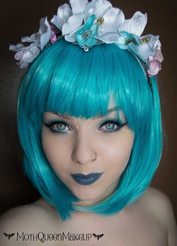Teal Green Short Bob Fringe Bangs Gothic Cosplay Lush Wig - Worldwide Tracked Delivery