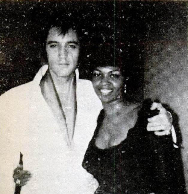 "Elvis with Cissy Houston of the ""Sweet Inspirations"" (Cissy was the mother of Whitney Houston)."