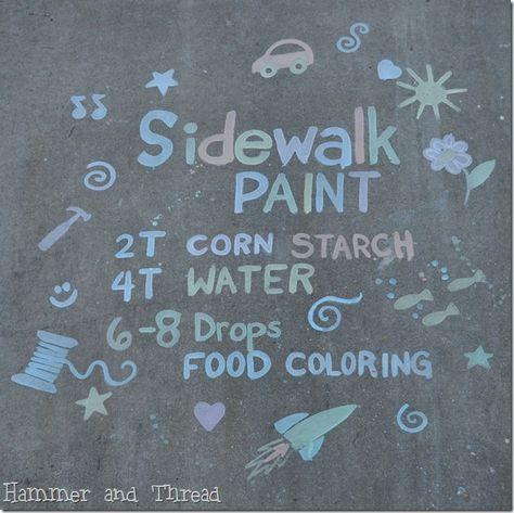 sidewalk paint on pinterest sidewalk chalk paint cornstarch paint. Black Bedroom Furniture Sets. Home Design Ideas