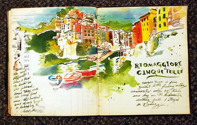 art journal watercolor over ledger paper - riomaggiore, cinqueterre, italy