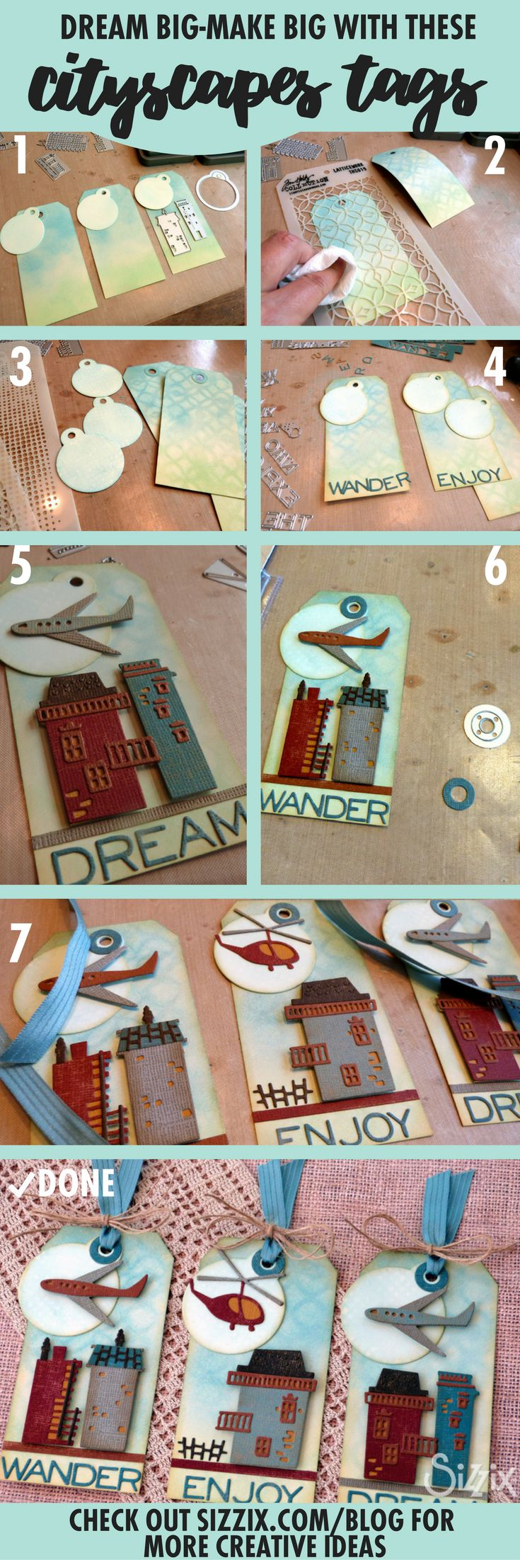 Dream Big - Make Big With These Cityscapes Tags by Audrey Featuring Tim Holtz Cityscapes Sizzix die!