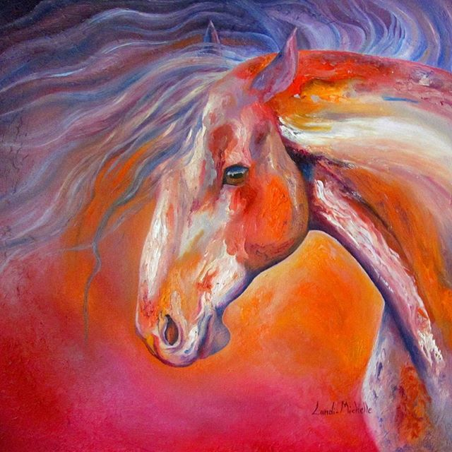Dreams, oil on canvas by Landi-Michelle   #LandiMichelleArts #abstract  #magical #impressionism  #equine #dreams