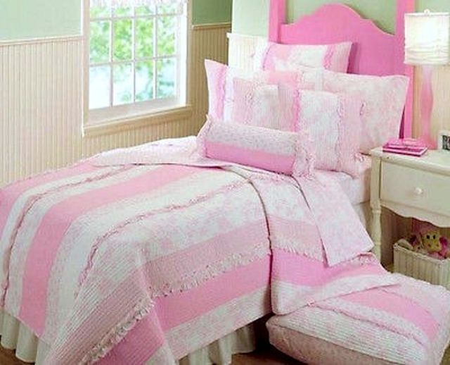 SHABBY COTTAGE CHIC PINK TOILE ROSES & RUFFLES SWEET ABIGAIL TWIN or FULL / QUEEN QUILT SET