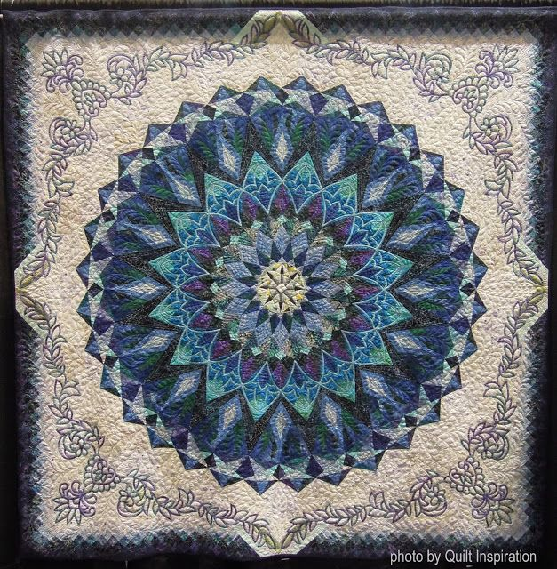 """The Deep Blue Glitter, 87 x 87"""", by Taeko Kasai, Japan.  Photo by Quilt Inspiration: Highlights of the 2016 Pacific International Quilt Festival ! Day 3"""