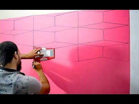 بأبسط الادوات اصنع بنفسك ديكور حائط ثري دي Optical Illusion Wall Design Youtube Diy Wall Painting 3d Wall Painting Wall Painting