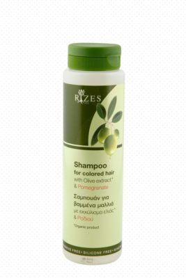 Shampoo for colored hair with olive extract and pomegranate.