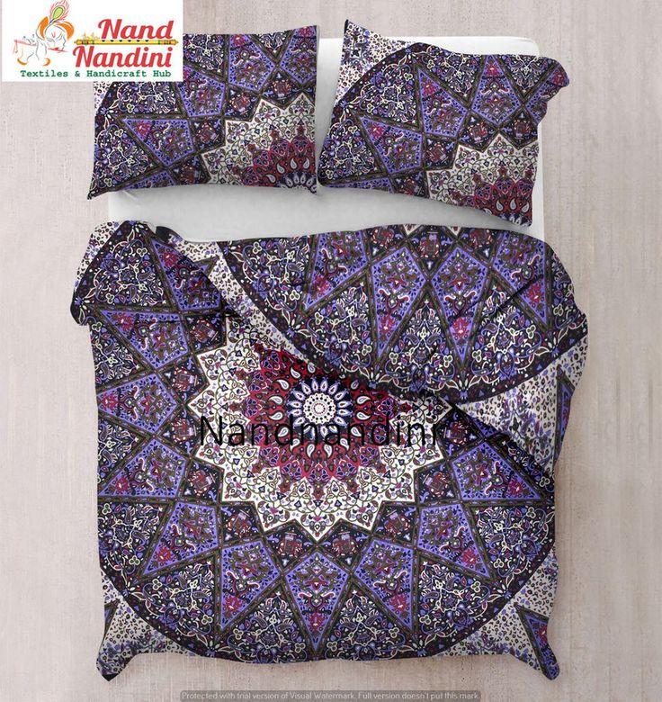 Queen Star  Mandala Comforter Cover Bedding Throw Indian Handmade Duvet Cover #Handmade #ArtsCraftsMissionStyle #DuvetCoverQuiltCoverBlanketThrows