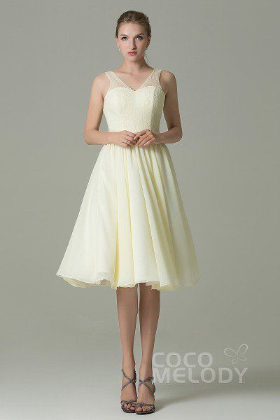 Chic A-Line V-Neck Natural Knee Length Lace/Chiffon Sleeveless Zipper Bridesmaid Dress COZK16001