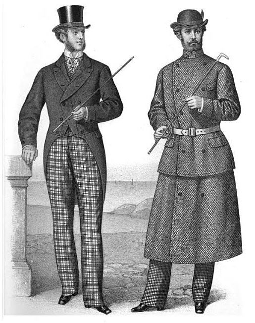 """Clothing for the """"sporting gentleman,"""" from 'Gazette of Fashion, and Cutting-Room Companion', 1870."""