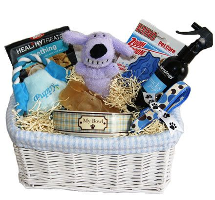 A gorgous gift for anyone with a new Puppy - Beau in Blue Deluxe Gift Basket for Puppies from Pet Gift Hampers