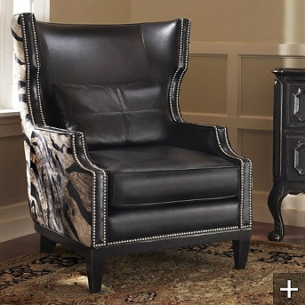 Love the hair hide on the back and sides with the leather. | Cabin Decor | Pinterest | Wingback chairs Upholstery and Tables & Love the hair hide on the back and sides with the leather. | Cabin ... islam-shia.org